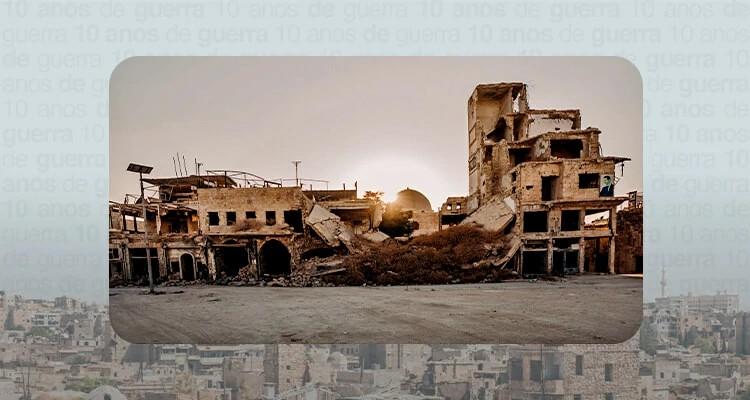 A guerra causou uma destruição massiva em muitos lugares na Síria, como na cidade de Alepo